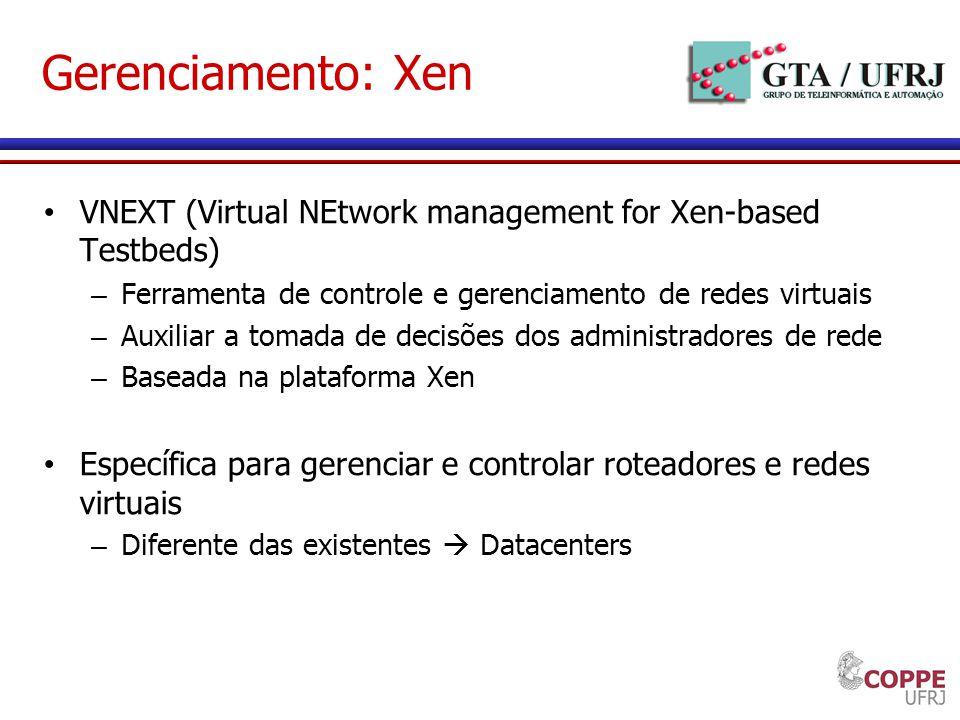 Gerenciamento: Xen VNEXT (Virtual NEtwork management for Xen-based Testbeds) – Ferramenta de controle e gerenciamento de redes virtuais – Auxiliar a t