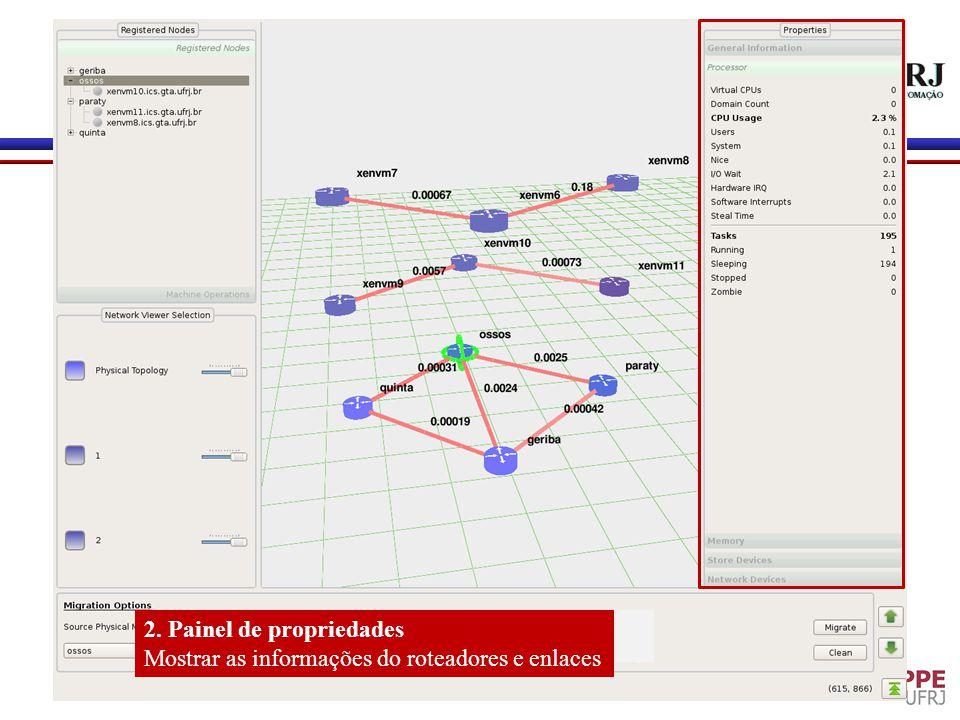 2. Painel de propriedades Mostrar as informações do roteadores e enlaces