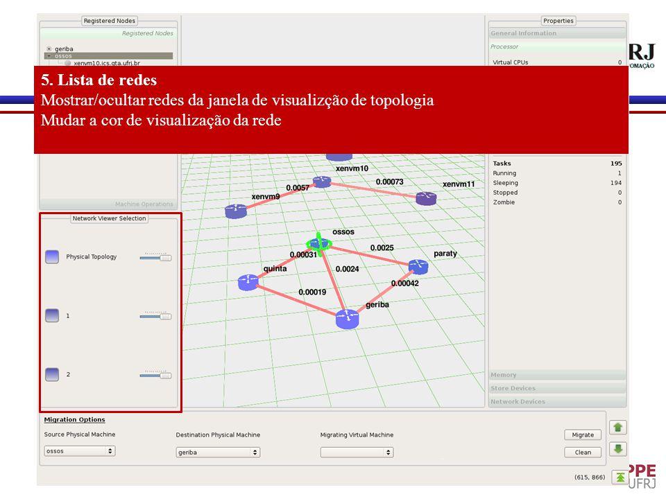 5. Lista de redes Mostrar/ocultar redes da janela de visualizção de topologia Mudar a cor de visualização da rede