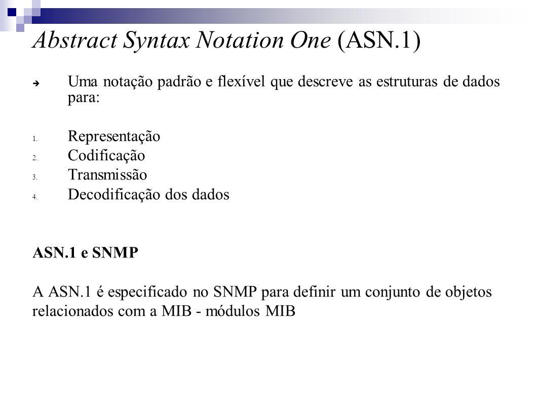 Abstract Syntax Notation One (ASN.1) Uma notação padrão e flexível que descreve as estruturas de dados para: 1.