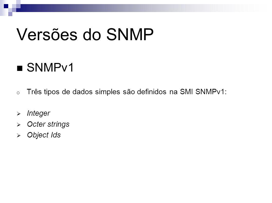 Versões do SNMP SNMPv1 o Três tipos de dados simples são definidos na SMI SNMPv1: Integer Octer strings Object Ids
