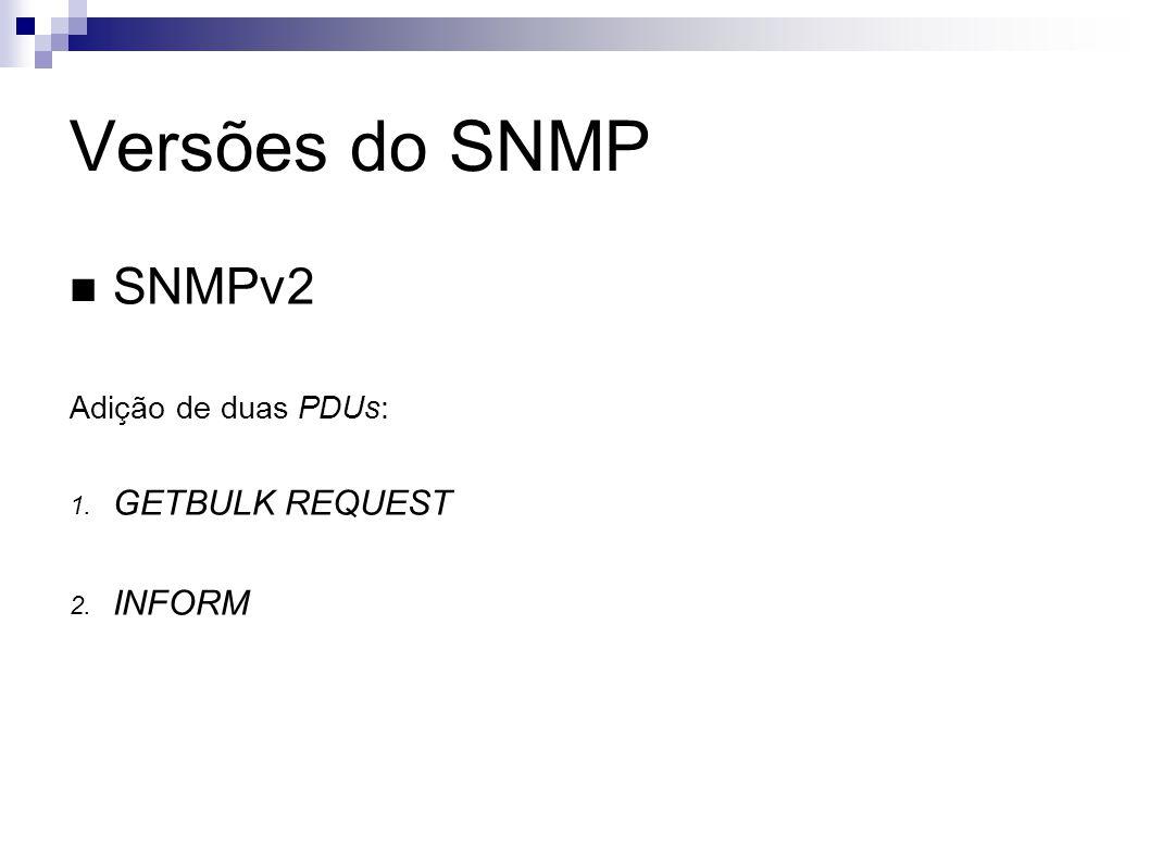 Versões do SNMP SNMPv2 Adição de duas PDUs: 1. GETBULK REQUEST 2. INFORM