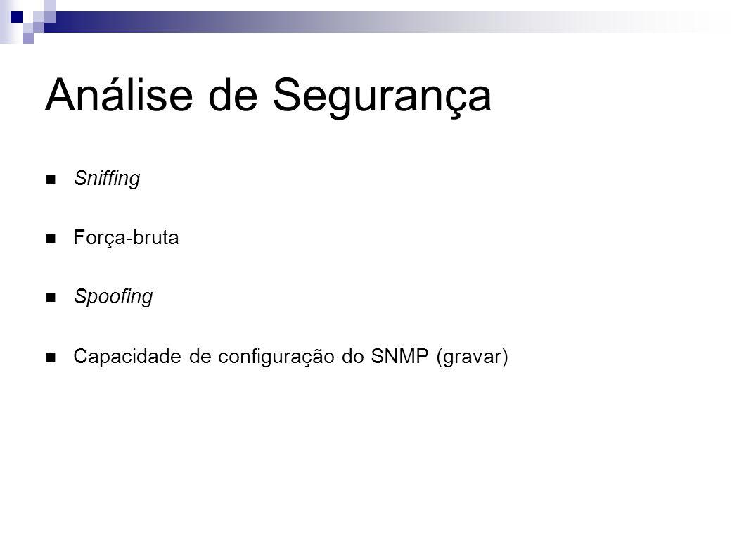 Análise de Segurança Sniffing Força-bruta Spoofing Capacidade de configuração do SNMP (gravar)