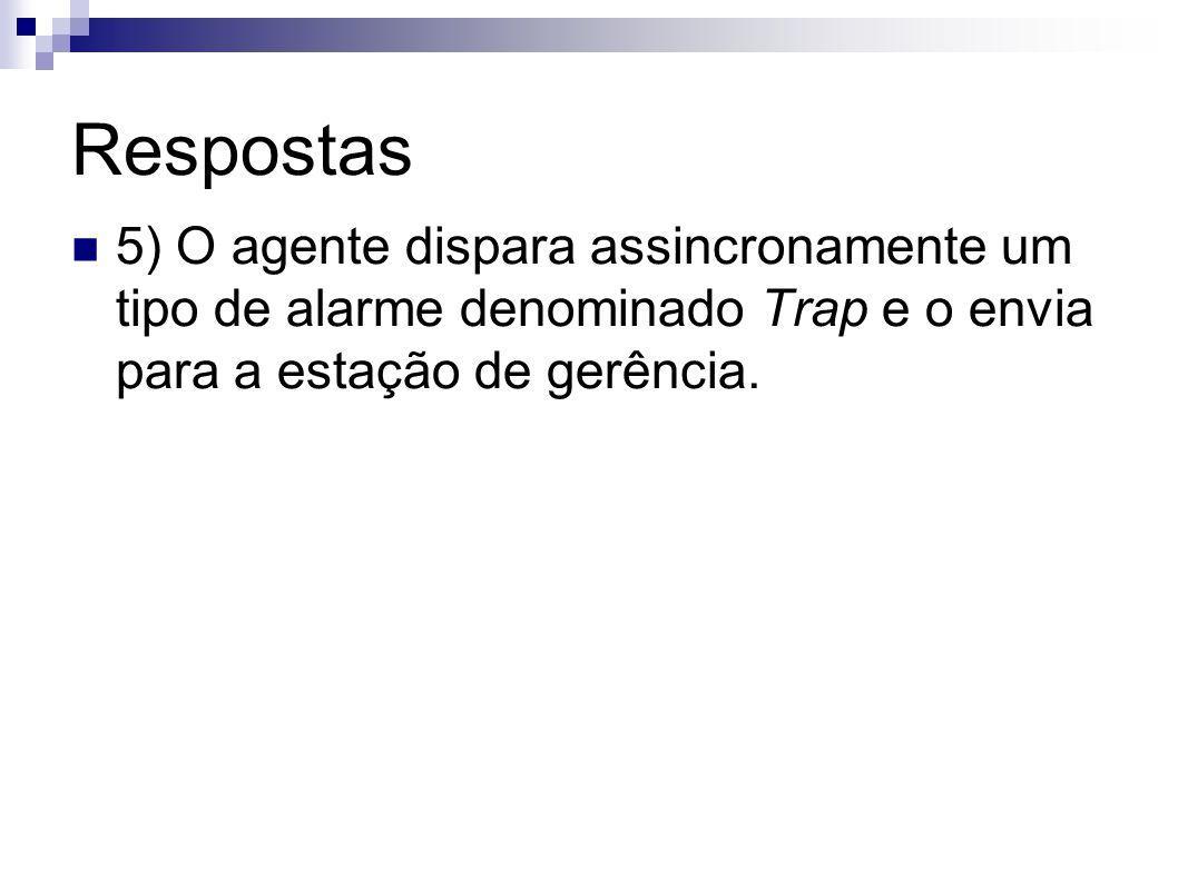 Respostas 5) O agente dispara assincronamente um tipo de alarme denominado Trap e o envia para a estação de gerência.