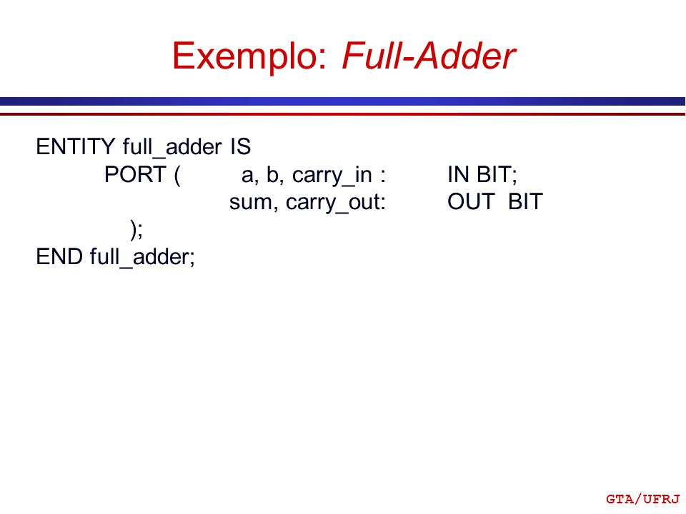 GTA/UFRJ Exemplo: Full-Adder ENTITY full_adder IS PORT (a, b, carry_in : IN BIT; sum, carry_out: OUT BIT ); END full_adder;