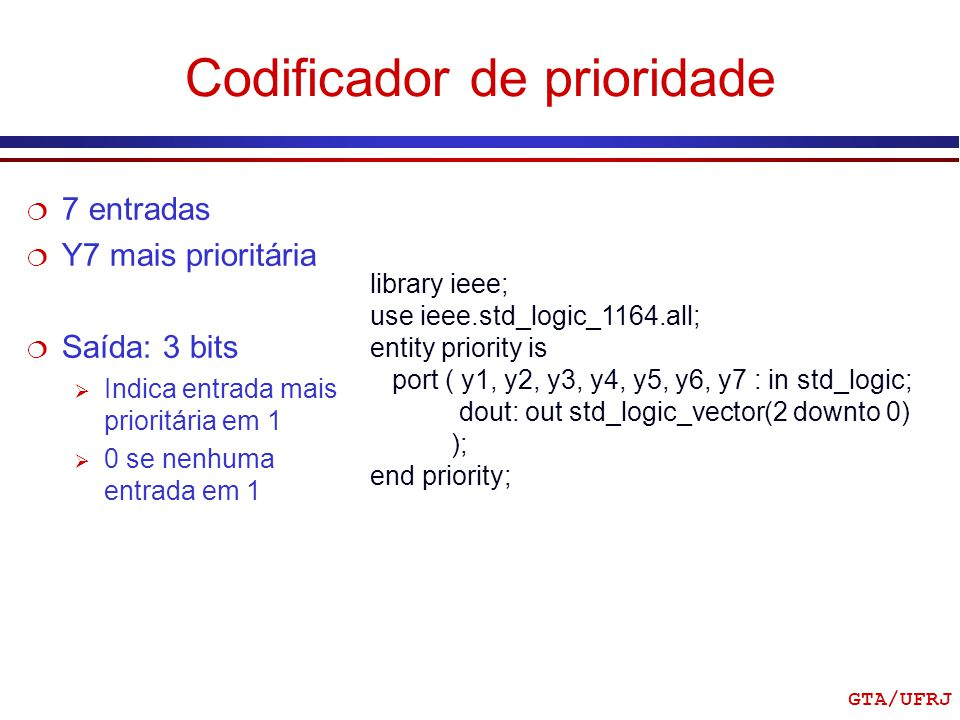 GTA/UFRJ Codificador de prioridade library ieee; use ieee.std_logic_1164.all; entity priority is port ( y1, y2, y3, y4, y5, y6, y7 : in std_logic; dou