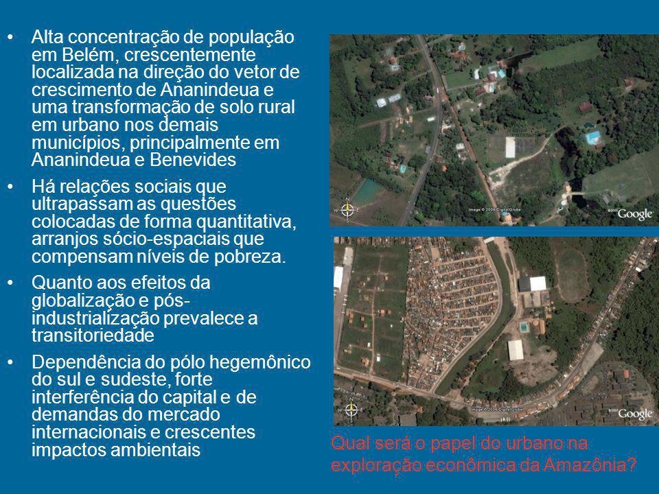 Alta concentração de população em Belém, crescentemente localizada na direção do vetor de crescimento de Ananindeua e uma transformação de solo rural