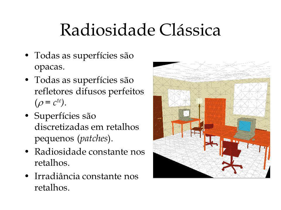 Radiosidade Clássica Todas as superfícies são opacas. Todas as superfícies são refletores difusos perfeitos ( = c te ). Superfícies são discretizadas