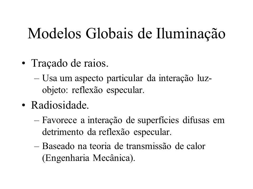 Modelos Globais de Iluminação Traçado de raios. –Usa um aspecto particular da interação luz- objeto: reflexão especular. Radiosidade. –Favorece a inte