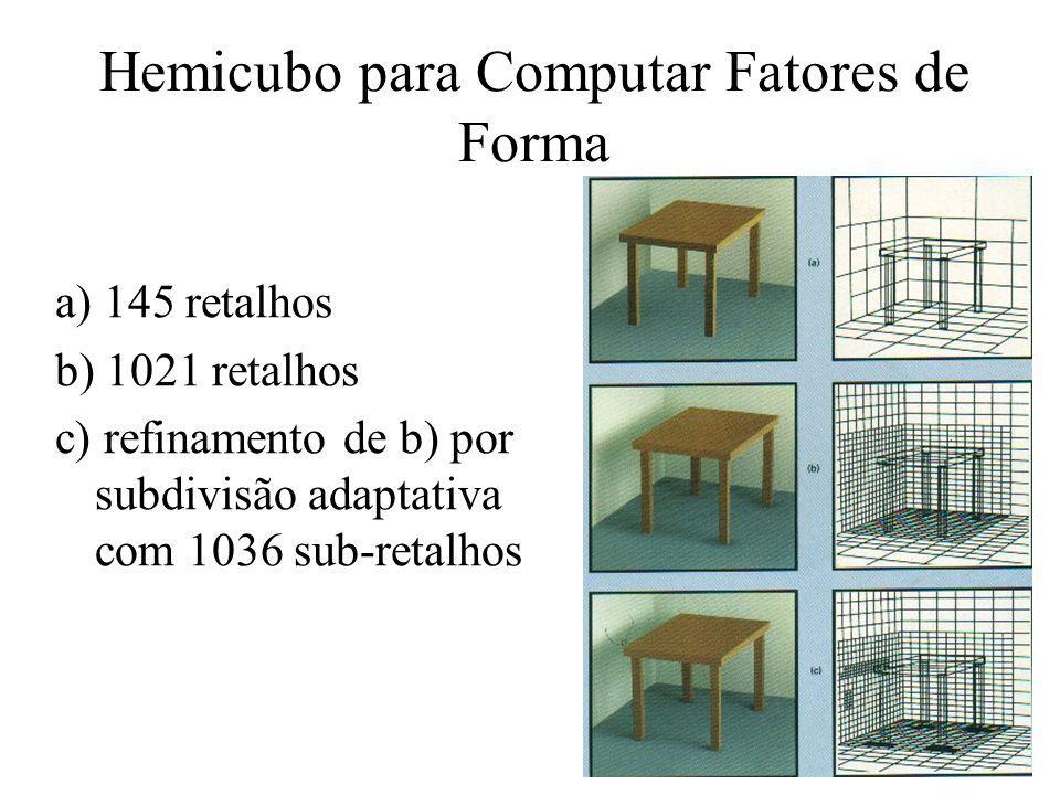 Hemicubo para Computar Fatores de Forma a) 145 retalhos b) 1021 retalhos c) refinamento de b) por subdivisão adaptativa com 1036 sub-retalhos