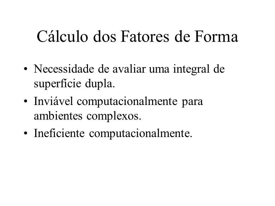 Cálculo dos Fatores de Forma Necessidade de avaliar uma integral de superfície dupla. Inviável computacionalmente para ambientes complexos. Ineficient