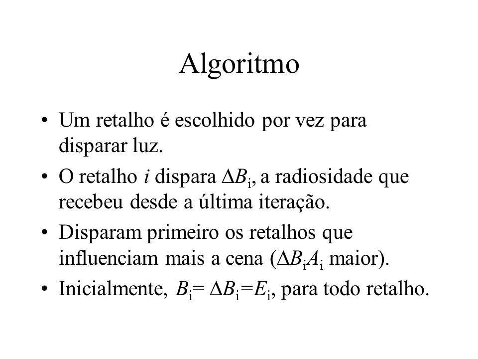 Algoritmo Um retalho é escolhido por vez para disparar luz. O retalho i dispara B i, a radiosidade que recebeu desde a última iteração. Disparam prime