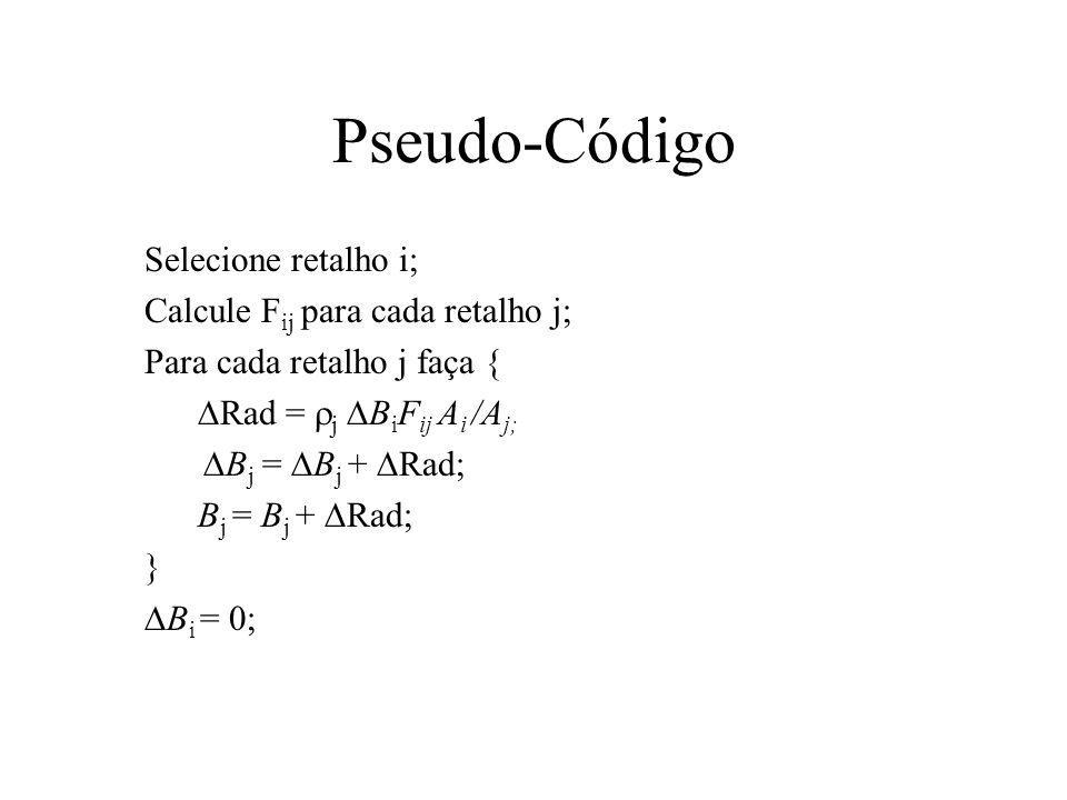 Pseudo-Código Selecione retalho i; Calcule F ij para cada retalho j; Para cada retalho j faça { Rad = j B i F ij A i /A j; B j = B j + Rad; } B i = 0;