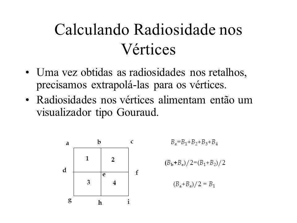 Calculando Radiosidade nos Vértices Uma vez obtidas as radiosidades nos retalhos, precisamos extrapolá-las para os vértices. Radiosidades nos vértices