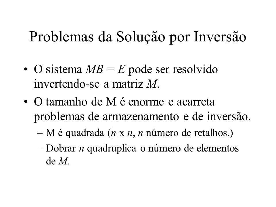 Problemas da Solução por Inversão O sistema MB = E pode ser resolvido invertendo-se a matriz M. O tamanho de M é enorme e acarreta problemas de armaze