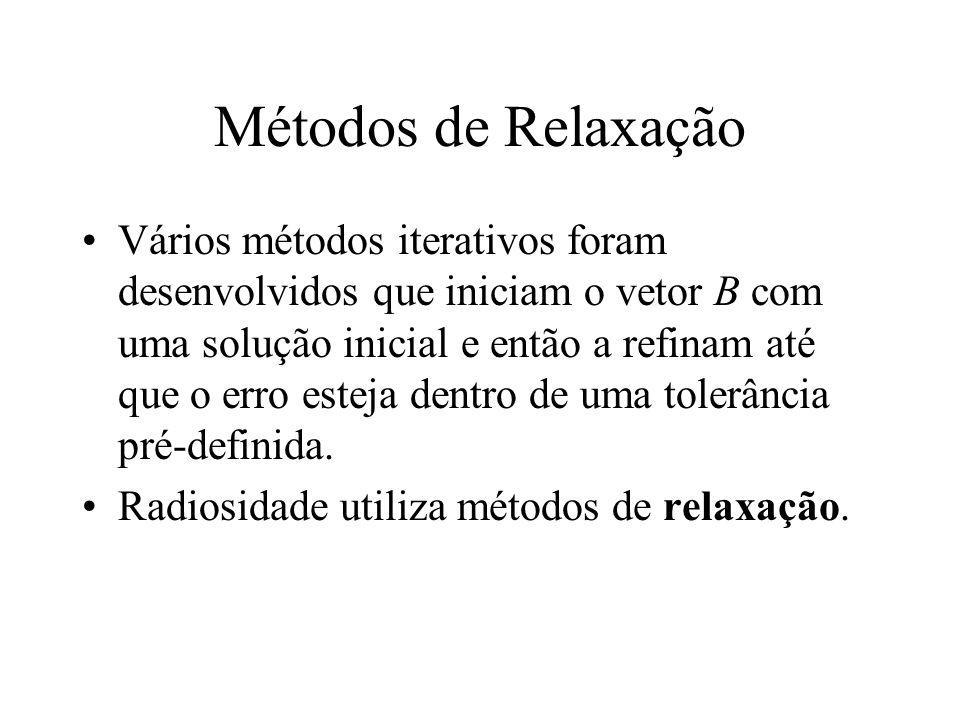 Métodos de Relaxação Vários métodos iterativos foram desenvolvidos que iniciam o vetor B com uma solução inicial e então a refinam até que o erro este