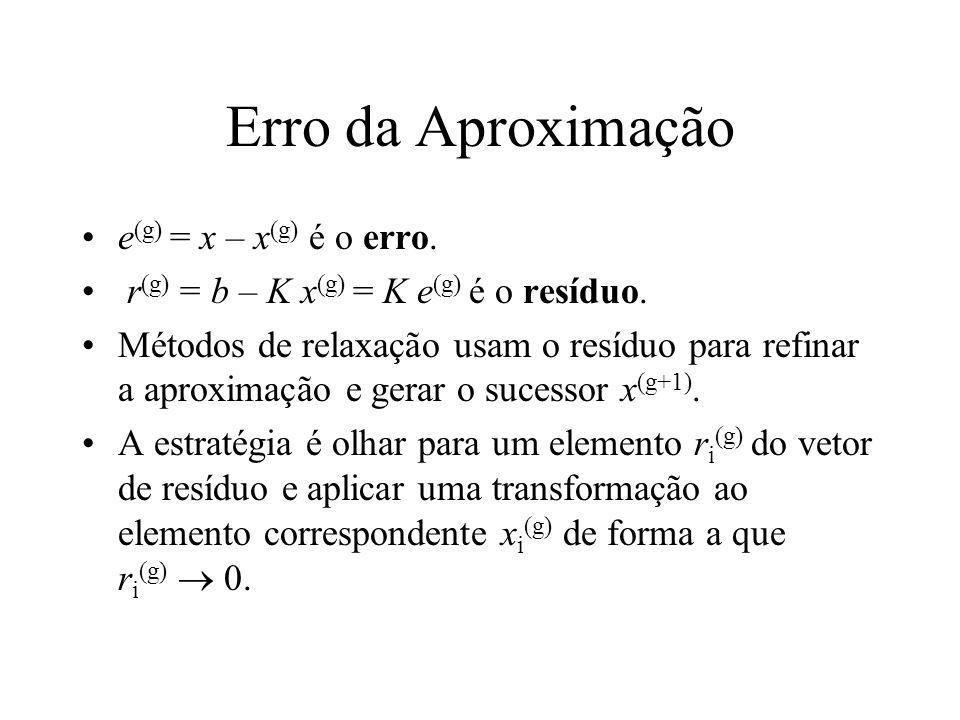 Erro da Aproximação e (g) = x – x (g) é o erro. r (g) = b – K x (g) = K e (g) é o resíduo. Métodos de relaxação usam o resíduo para refinar a aproxima