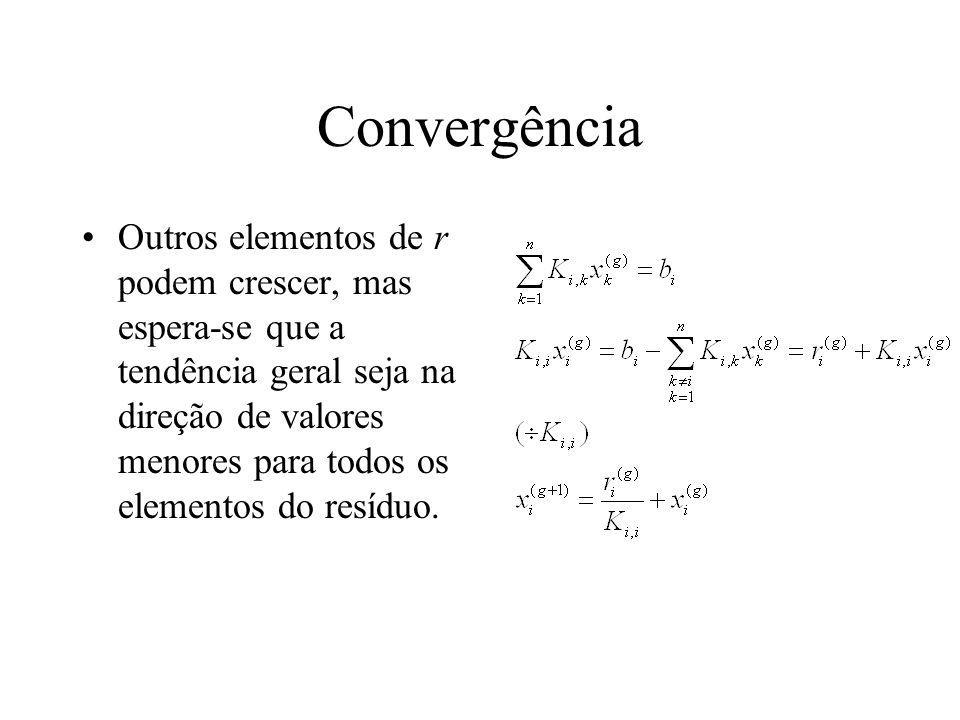 Convergência Outros elementos de r podem crescer, mas espera-se que a tendência geral seja na direção de valores menores para todos os elementos do re