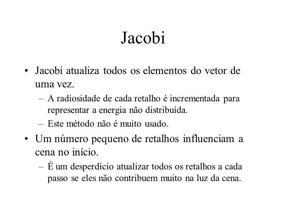 Jacobi Jacobi atualiza todos os elementos do vetor de uma vez. –A radiosidade de cada retalho é incrementada para representar a energia não distribuíd