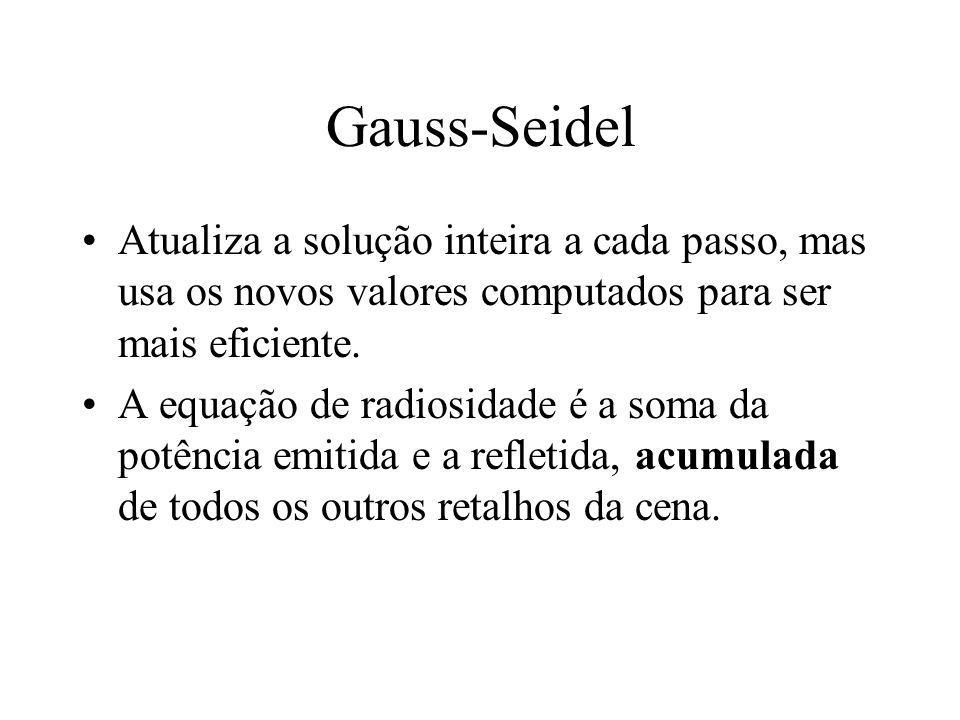 Gauss-Seidel Atualiza a solução inteira a cada passo, mas usa os novos valores computados para ser mais eficiente. A equação de radiosidade é a soma d