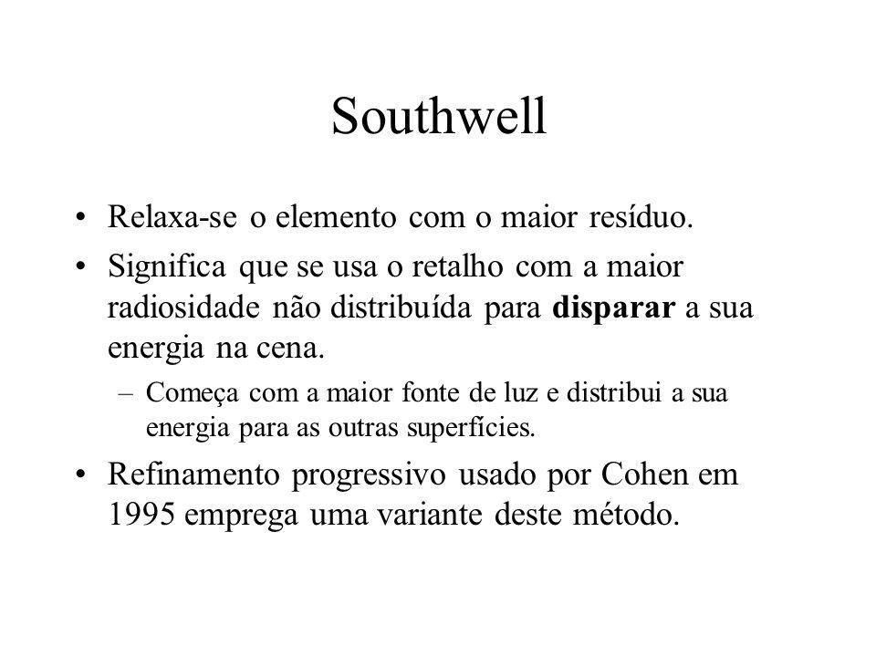 Southwell Relaxa-se o elemento com o maior resíduo. Significa que se usa o retalho com a maior radiosidade não distribuída para disparar a sua energia