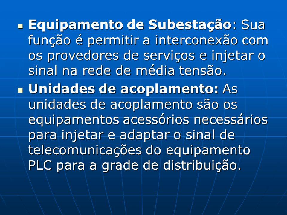 Equipamento de Subestação: Sua função é permitir a interconexão com os provedores de serviços e injetar o sinal na rede de média tensão. Equipamento d