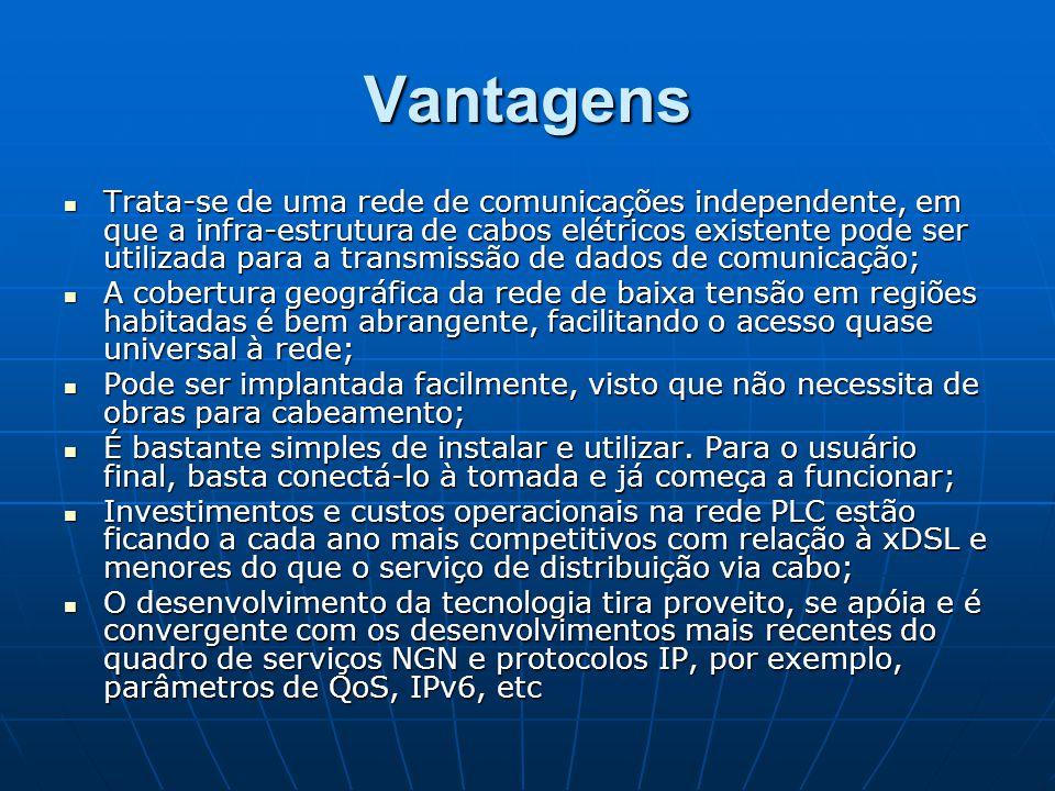 Vantagens Trata-se de uma rede de comunicações independente, em que a infra-estrutura de cabos elétricos existente pode ser utilizada para a transmiss