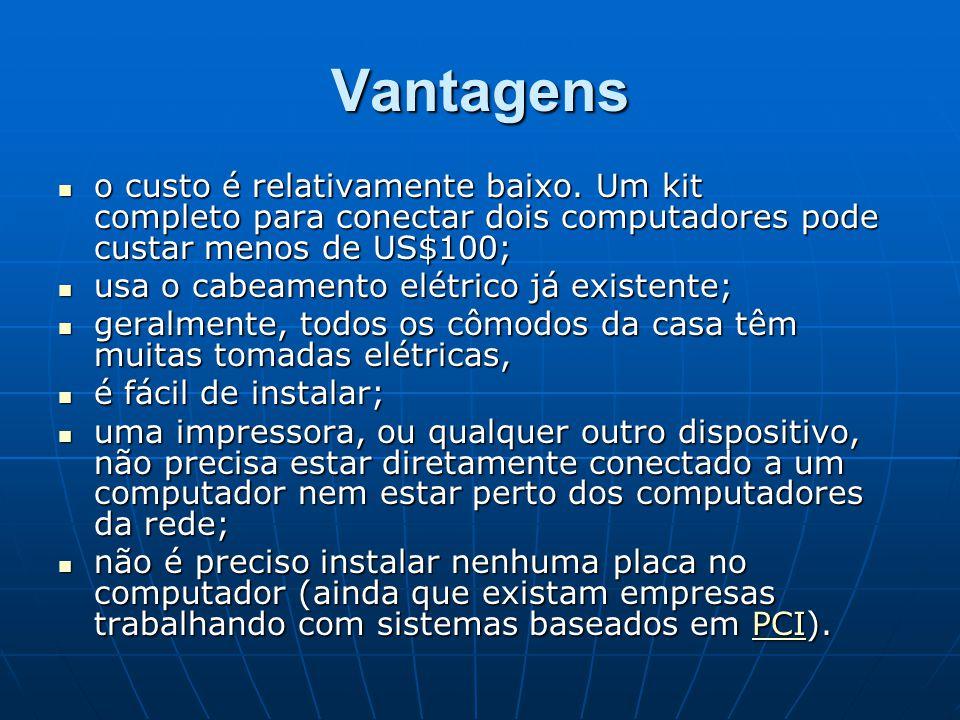 Vantagens o custo é relativamente baixo. Um kit completo para conectar dois computadores pode custar menos de US$100; o custo é relativamente baixo. U