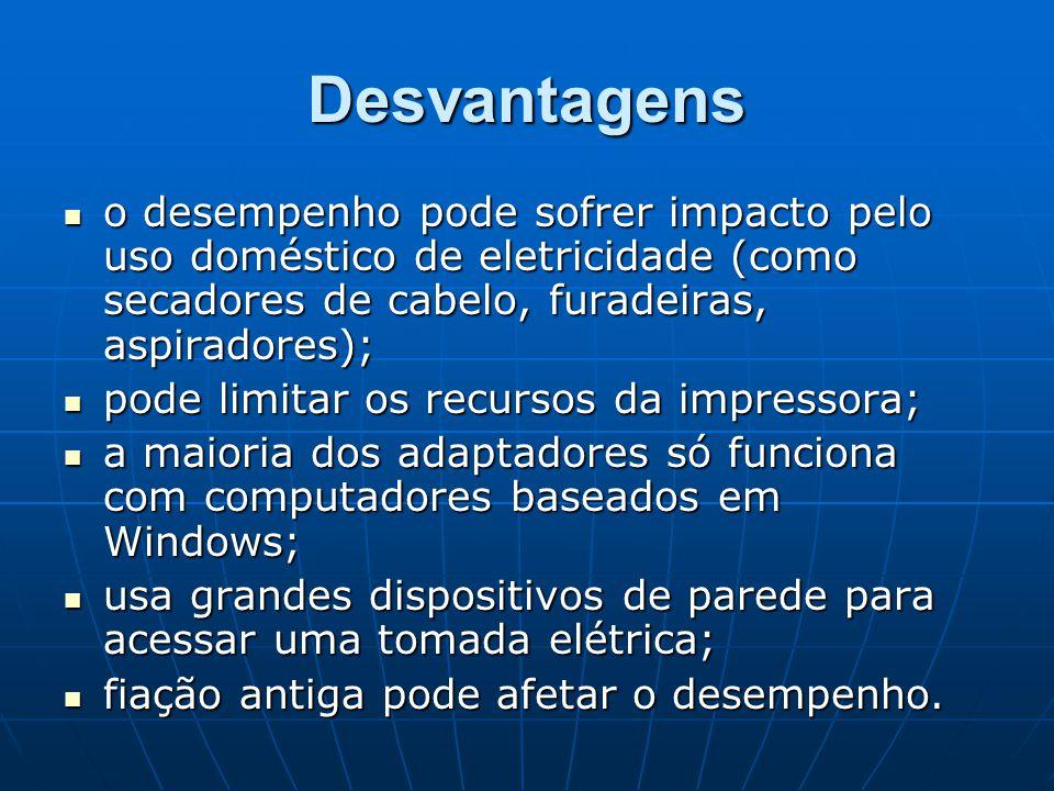 Desvantagens o desempenho pode sofrer impacto pelo uso doméstico de eletricidade (como secadores de cabelo, furadeiras, aspiradores); o desempenho pod