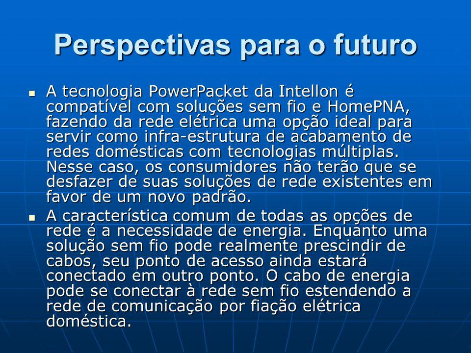 Perspectivas para o futuro A tecnologia PowerPacket da Intellon é compatível com soluções sem fio e HomePNA, fazendo da rede elétrica uma opção ideal
