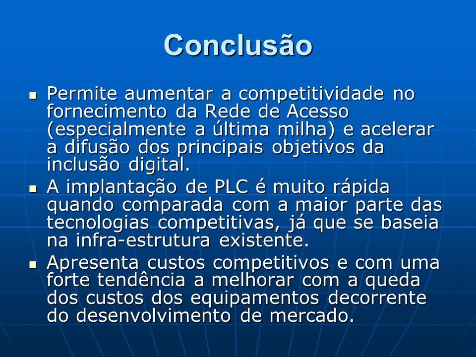 Conclusão Permite aumentar a competitividade no fornecimento da Rede de Acesso (especialmente a última milha) e acelerar a difusão dos principais obje