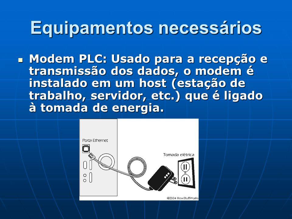 Equipamentos necessários Modem PLC: Usado para a recepção e transmissão dos dados, o modem é instalado em um host (estação de trabalho, servidor, etc.