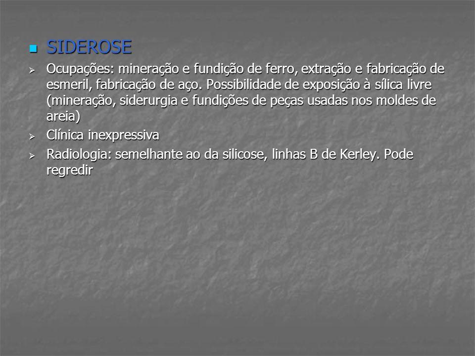 SIDEROSE SIDEROSE Ocupações: mineração e fundição de ferro, extração e fabricação de esmeril, fabricação de aço. Possibilidade de exposição à sílica l