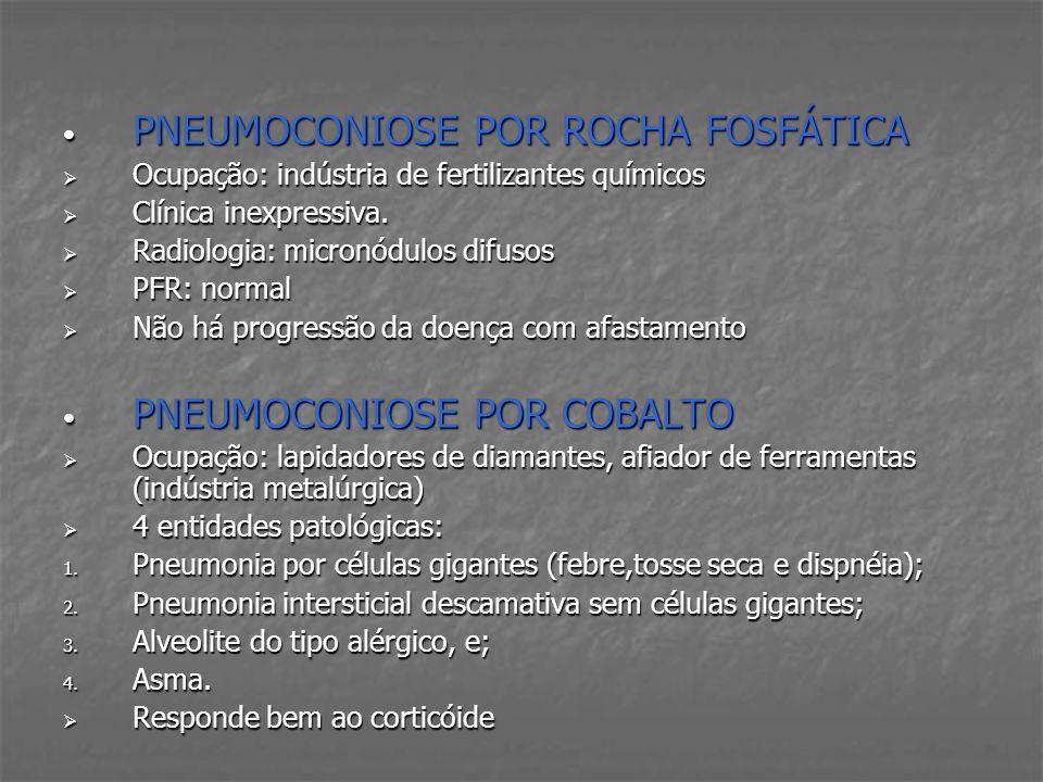 PNEUMOCONIOSE POR ROCHA FOSFÁTICA PNEUMOCONIOSE POR ROCHA FOSFÁTICA Ocupação: indústria de fertilizantes químicos Ocupação: indústria de fertilizantes