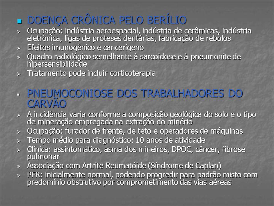 DOENÇA CRÔNICA PELO BERÍLIO DOENÇA CRÔNICA PELO BERÍLIO Ocupação: indústria aeroespacial, indústria de cerâmicas, indústria eletrônica, ligas de próte