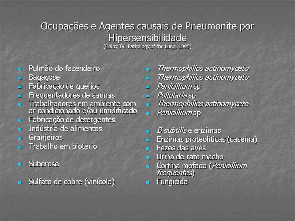 Ocupações e Agentes causais de Pneumonite por Hipersensibilidade (Colby TV.