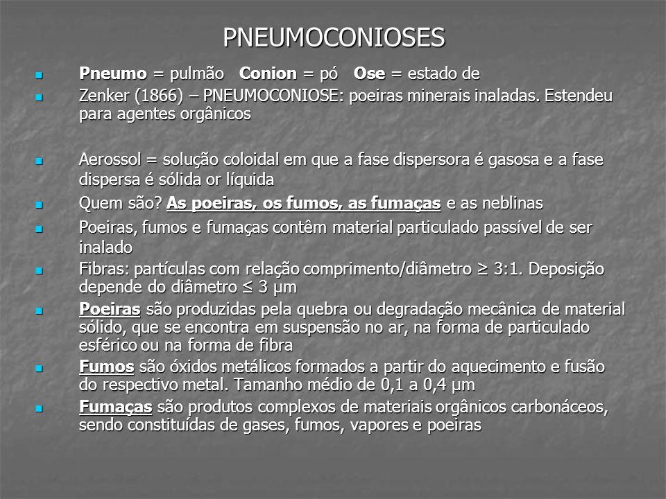 DOENÇA CRÔNICA PELO BERÍLIO DOENÇA CRÔNICA PELO BERÍLIO Ocupação: indústria aeroespacial, indústria de cerâmicas, indústria eletrônica, ligas de próteses dentárias, fabricação de rebolos Ocupação: indústria aeroespacial, indústria de cerâmicas, indústria eletrônica, ligas de próteses dentárias, fabricação de rebolos Efeitos imunogênico e cancerígeno Efeitos imunogênico e cancerígeno Quadro radiológico semelhante à sarcoidose e à pneumonite de hipersensibilidade Quadro radiológico semelhante à sarcoidose e à pneumonite de hipersensibilidade Tratamento pode incluir corticoterapia Tratamento pode incluir corticoterapia PNEUMOCONIOSE DOS TRABALHADORES DO CARVÃO PNEUMOCONIOSE DOS TRABALHADORES DO CARVÃO A incidência varia conforme a composição geológica do solo e o tipo de mineração empregada na extração do minério A incidência varia conforme a composição geológica do solo e o tipo de mineração empregada na extração do minério Ocupação: furador de frente, de teto e operadores de máquinas Ocupação: furador de frente, de teto e operadores de máquinas Tempo médio para diagnóstico: 10 anos de atividade Tempo médio para diagnóstico: 10 anos de atividade Clínica: assintomático, asma dos mineiros, DPOC, câncer, fibrose pulmonar Clínica: assintomático, asma dos mineiros, DPOC, câncer, fibrose pulmonar Associação com Artrite Reumatóide (Síndrome de Caplan) Associação com Artrite Reumatóide (Síndrome de Caplan) PFR: inicialmente normal, podendo progredir para padrão misto com predomínio obstrutivo por comprometimento das vias aéreas PFR: inicialmente normal, podendo progredir para padrão misto com predomínio obstrutivo por comprometimento das vias aéreas
