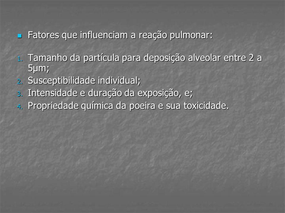 FASES: Aguda: sintomas 4 a 8 horas após exposição quadro gripal hipoxemia e padrão restritivo funcionalmente rx pouca correlação CT (75%) vidro despolido Subaguda: dispnéia aos esforços, fadiga, tosse com expectoração mucóide, anorexia, mal estar e perda de peso CT com nódulos centrolobulares, aprisionamento de ar lobular, alterações fibróticas leves Crônica: dispnéia ao exercício baqueteamento digital sugere progressão CT com imagens de fibrose com acomentimento preferencial dos lobos superiores e do terço médio Mais grave e progressiva em fumantes