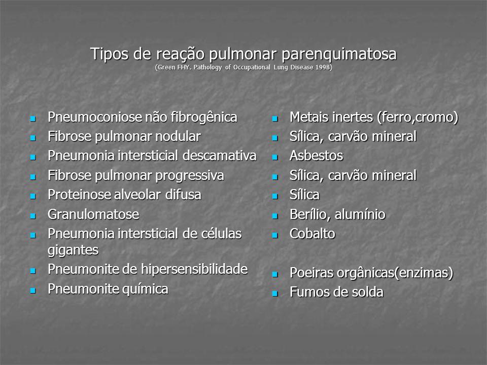 CÂNCER PULMONAR Arsênico (mineração de cobre) Arsênico (mineração de cobre) Asbestos Asbestos Berílio Berílio Bisclorometiléter/ Clorometiléter (tratamento em indústria têxtil, fabricação de pesticida, substâncias protetoras contra fogo) Bisclorometiléter/ Clorometiléter (tratamento em indústria têxtil, fabricação de pesticida, substâncias protetoras contra fogo) Cádmio (fabricação de pigmentos, de vidros) Cádmio (fabricação de pigmentos, de vidros) Sílica cristalina Sílica cristalina Cloreto de vinil (fabricação de PVC) Cloreto de vinil (fabricação de PVC) Cromo VI (fabricação de baterias) Cromo VI (fabricação de baterias) Gás mostarda Gás mostarda Níquel e seus compostos Níquel e seus compostos Radônio Radônio * International Agency for Research on Cancer Agentes e grupo de agentes Agentes e grupo de agentes Grupo 1 da IARC* (agente é cancerígena para o homem)
