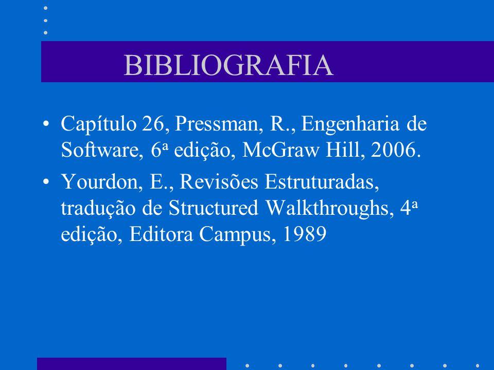 BIBLIOGRAFIA Capítulo 26, Pressman, R., Engenharia de Software, 6 a edição, McGraw Hill, 2006.
