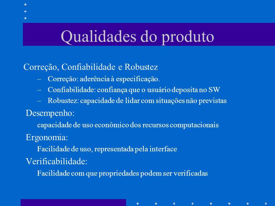 Correção, Confiabilidade e Robustez – Correção: aderência à especificação.
