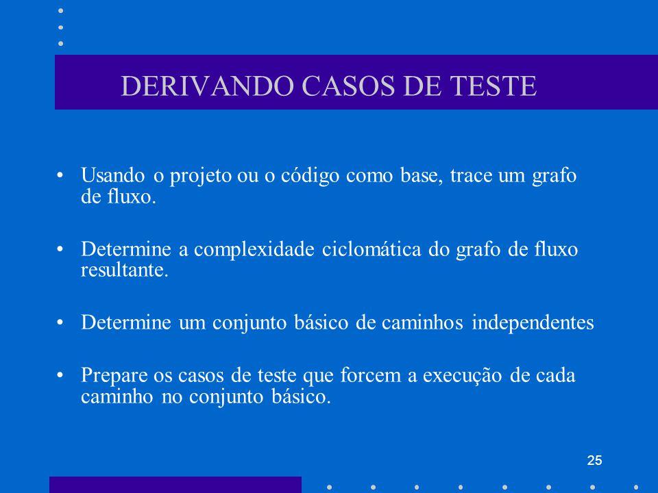 25 DERIVANDO CASOS DE TESTE Usando o projeto ou o código como base, trace um grafo de fluxo.