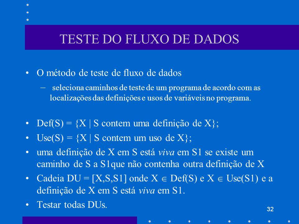 32 TESTE DO FLUXO DE DADOS O método de teste de fluxo de dados – seleciona caminhos de teste de um programa de acordo com as localizações das definições e usos de variáveis no programa.