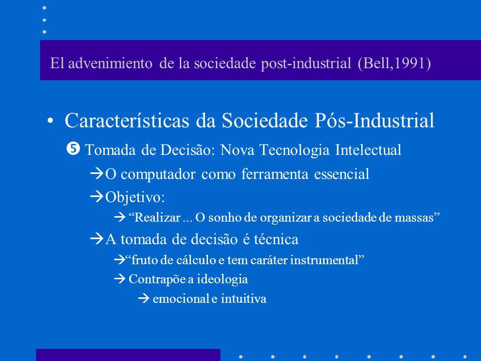 El advenimiento de la sociedade post-industrial (Bell,1991) Sociedade Pós-Industrial –Crescente burocratização da ciência & tecnologia e especialização do trabalho intelectual –Criação de dificuldades no âmbito político Intelectuais vs.