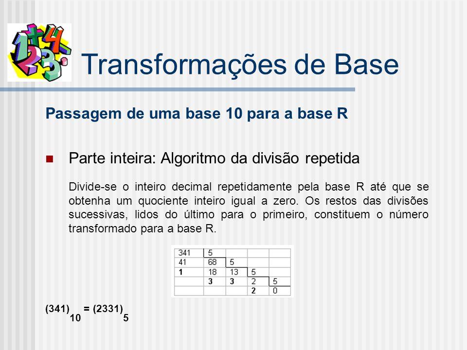 Transformações de Base Passagem de uma base 10 para a base R Parte inteira: Algoritmo da divisão repetida Divide-se o inteiro decimal repetidamente pela base R até que se obtenha um quociente inteiro igual a zero.