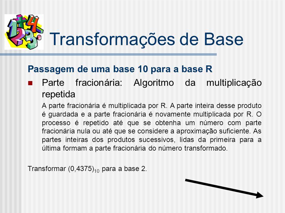 Transformações de Base Passagem de uma base 10 para a base R Parte fracionária: Algoritmo da multiplicação repetida A parte fracionária é multiplicada por R.
