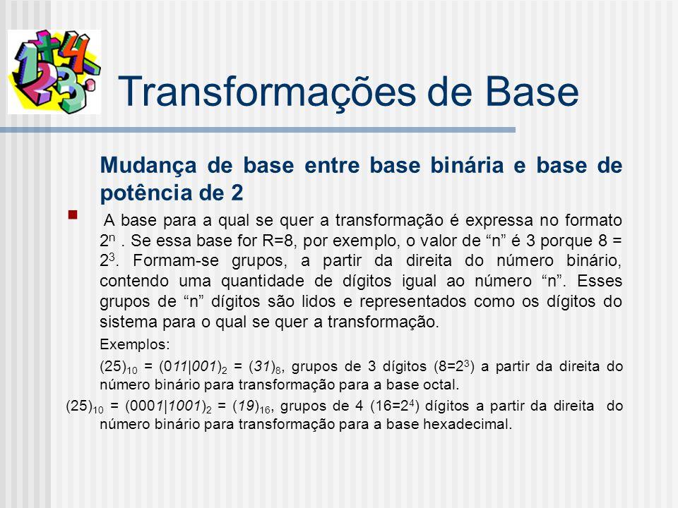 Transformações de Base Mudança de base entre base binária e base de potência de 2 A base para a qual se quer a transformação é expressa no formato 2 n.