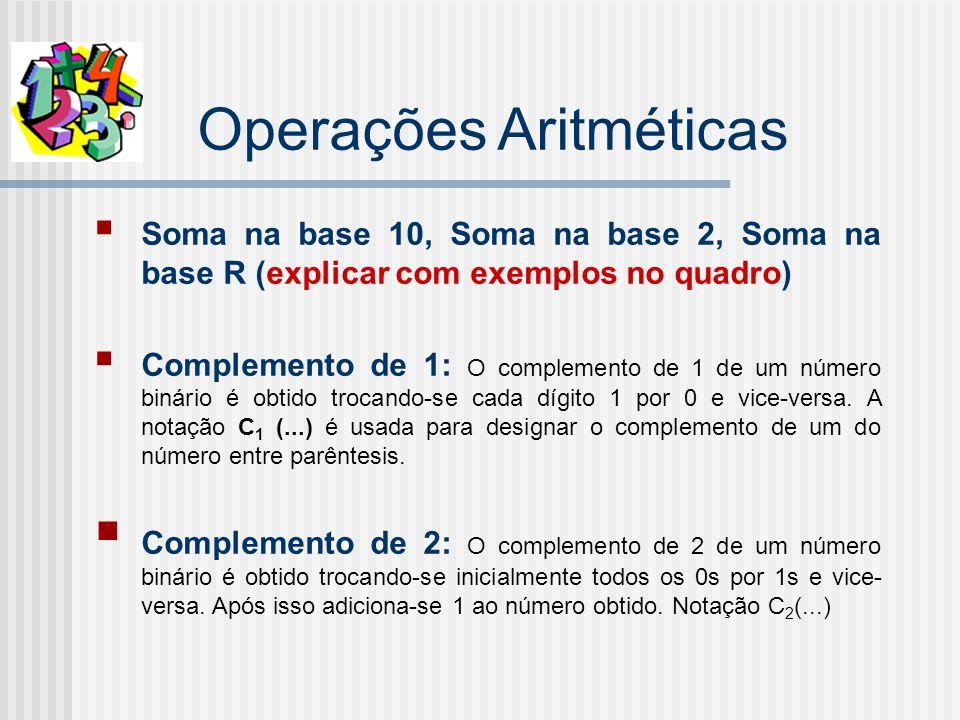 Operações Aritméticas Soma na base 10, Soma na base 2, Soma na base R (explicar com exemplos no quadro) Complemento de 1: O complemento de 1 de um número binário é obtido trocando-se cada dígito 1 por 0 e vice-versa.