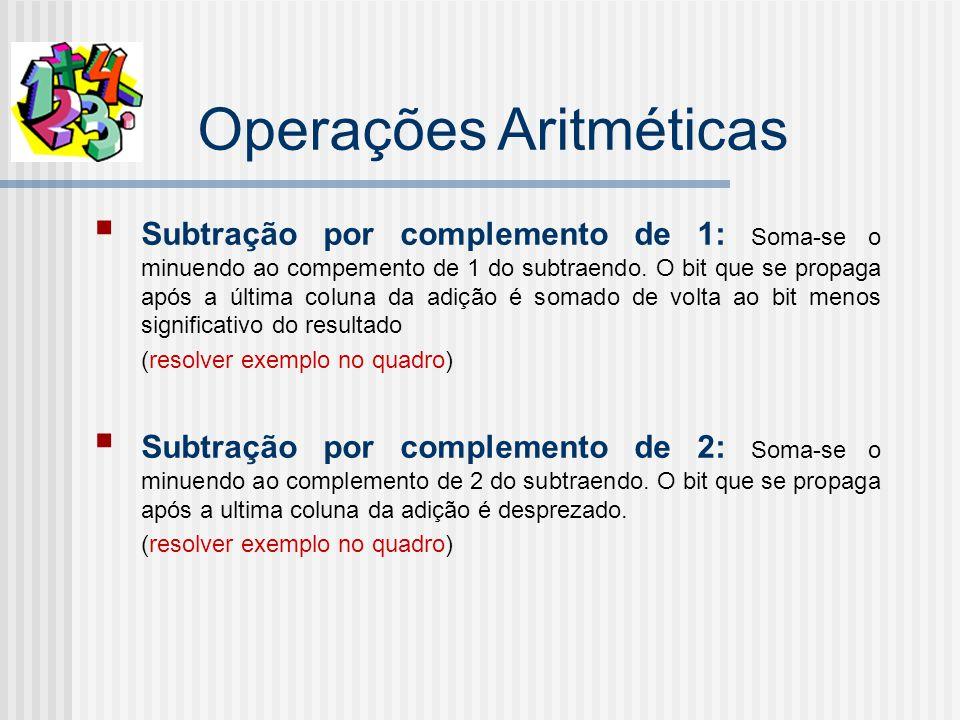 Operações Aritméticas Subtração por complemento de 1: Soma-se o minuendo ao compemento de 1 do subtraendo.