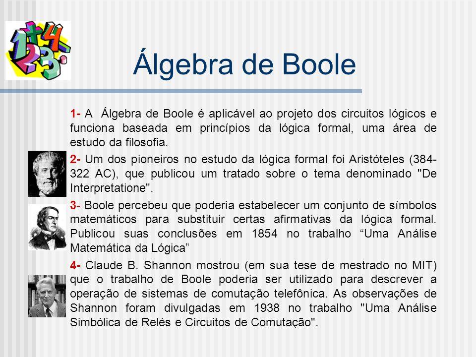 Álgebra de Boole 1- A Álgebra de Boole é aplicável ao projeto dos circuitos lógicos e funciona baseada em princípios da lógica formal, uma área de estudo da filosofia.